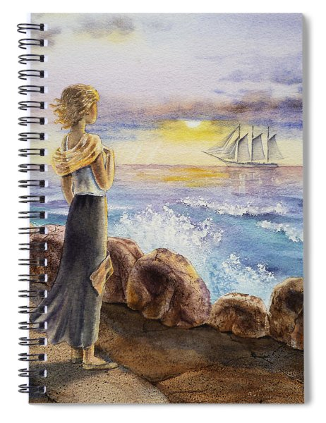 The Girl And The Ocean Spiral Notebook