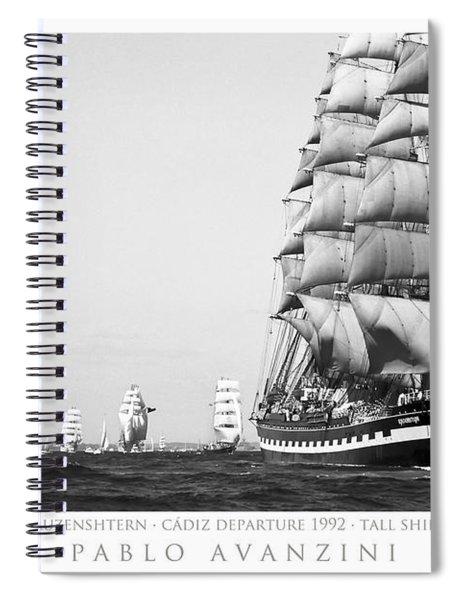 The Kruzenshtern Departing The Port Of Cadiz Spiral Notebook