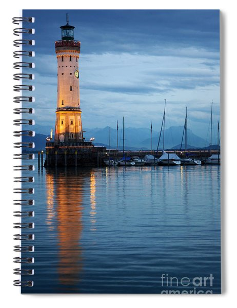 The Lighthouse Of Lindau By Night Spiral Notebook