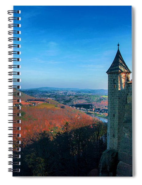 The Lilienstein Behind The Fortress Koenigstein Spiral Notebook