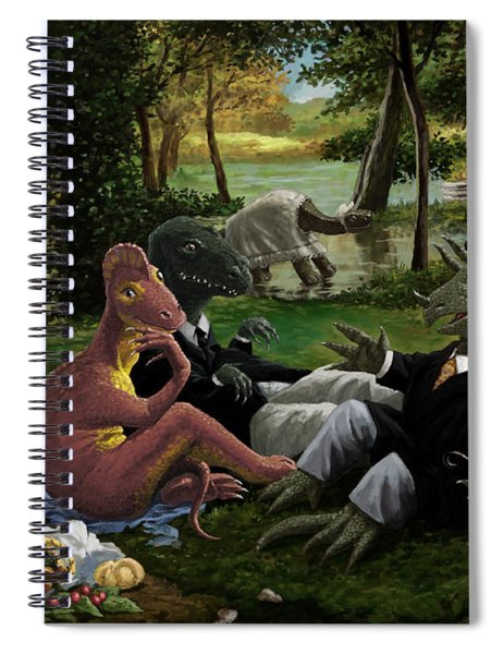 The Luncheon On The Grass With Dinosaurs Spiral Notebook