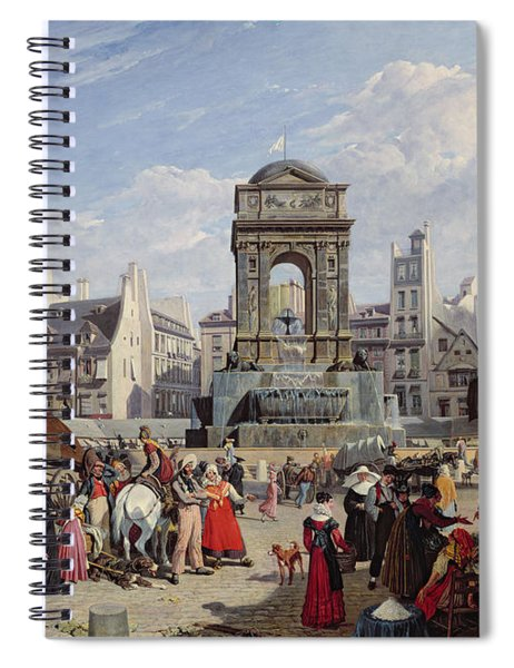 The Market And Fountain Of The Innocents, Paris, 1823 Oil On Canvas Spiral Notebook