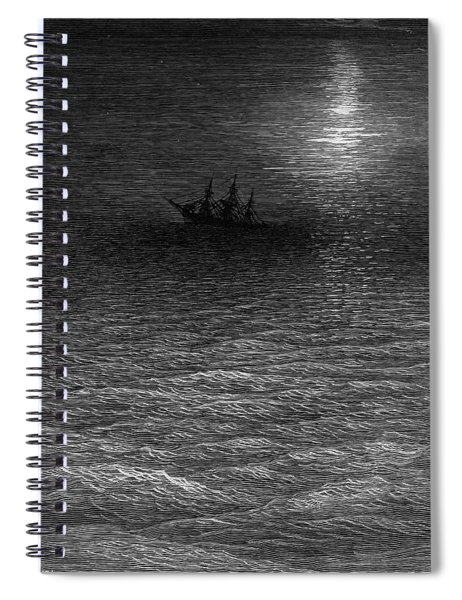 The Marooned Ship In A Moonlit Sea Spiral Notebook