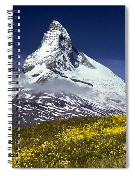 The Matterhorn With Alpine Meadow In Foreground Spiral Notebook