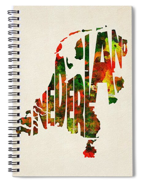 The Netherlands Typographic Watercolor Map Spiral Notebook