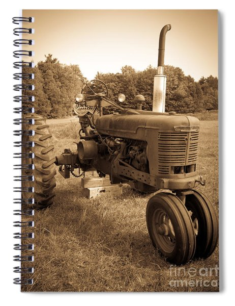 Spiral Notebook featuring the photograph The Old Tractor Sepia by Edward Fielding