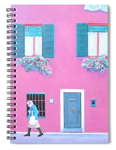 The Pink House With Green Shutters Spiral Notebook