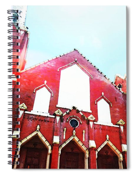 The Red Church By Sharon Cummings Spiral Notebook