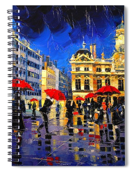 The Red Umbrellas Of Lyon Spiral Notebook