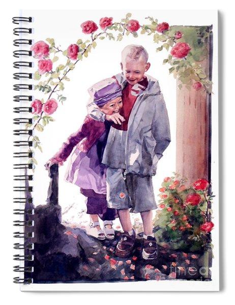 Watercolor Of A Boy And Girl In Their Secret Garden Spiral Notebook