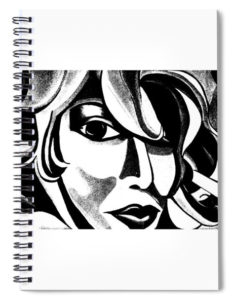 Black And White Abstract Woman Face Art Spiral Notebook