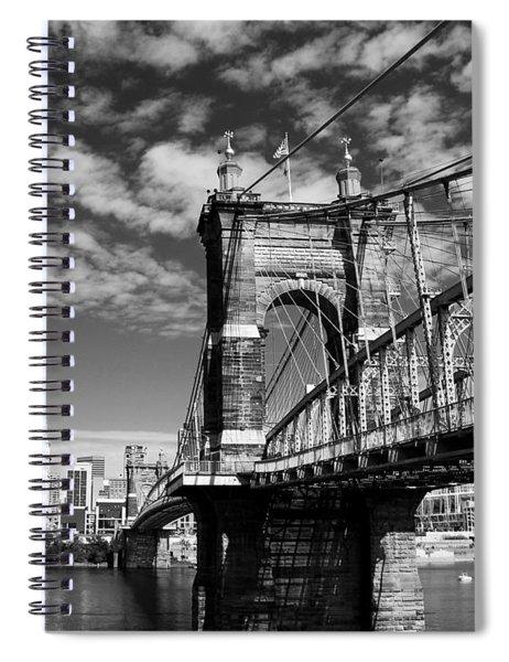 Spiral Notebook featuring the photograph The Suspension Bridge Bw by Mel Steinhauer