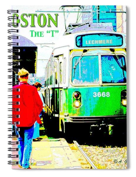 The T Trolley Boston Massachusetts Spiral Notebook