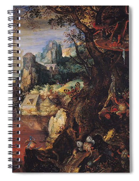 The Temptation Of St. Anthony Oil On Copper Spiral Notebook
