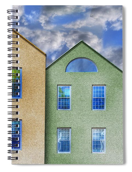 Three Buildings And A Bird Spiral Notebook