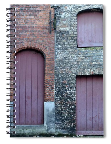 Three Doors And Two Windows Bruges, Belgium Spiral Notebook