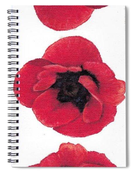 Three Red Poppies Spiral Notebook
