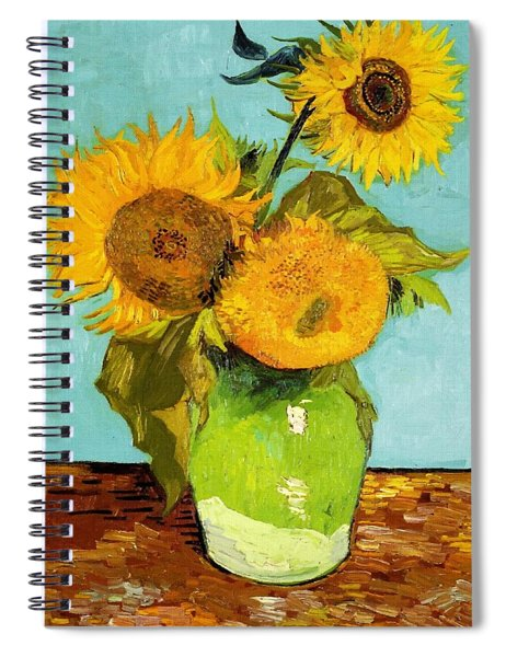 Three Sunflowers In A Vase Spiral Notebook