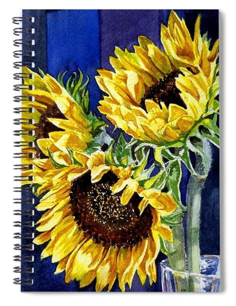 Three Sunny Flowers Spiral Notebook