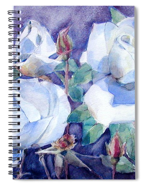 White Roses With Red Buds On Blue Field Spiral Notebook