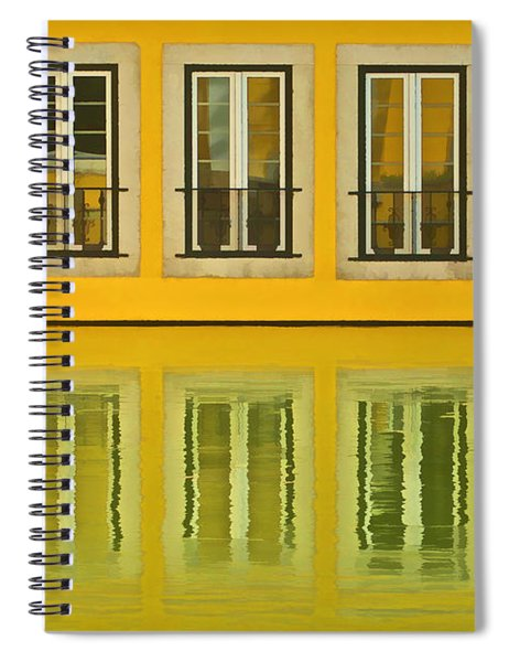 Three Windows Reflecting In The Water Spiral Notebook