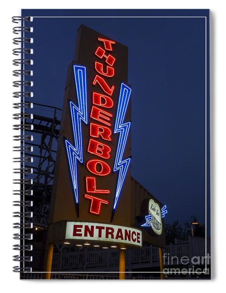 Thunderbolt Rollercoaster Neon Sign Spiral Notebook by Edward Fielding