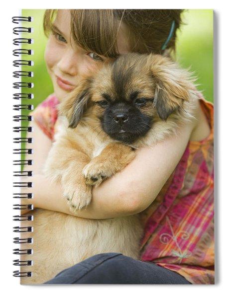 Tibetan Terrier And Girl Spiral Notebook