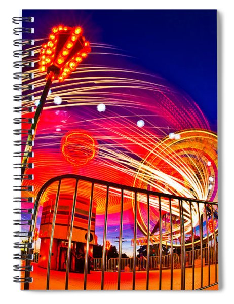 Time Exposure Of A Carnival Ride Spiral Notebook