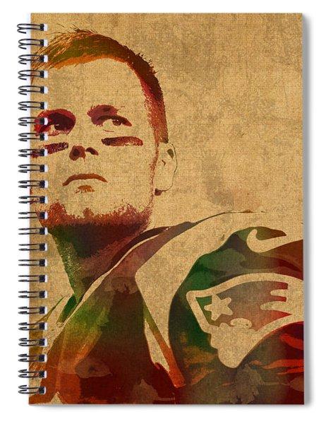 Tom Brady New England Patriots Quarterback Watercolor Portrait On Distressed Worn Canvas Spiral Notebook