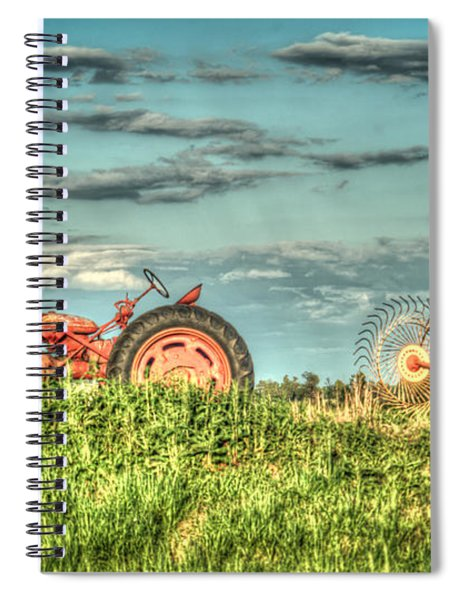 Tractor And Hay Rake Spiral Notebook