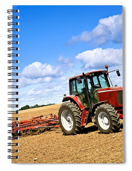 Tractor In Plowed Farm Field Spiral Notebook
