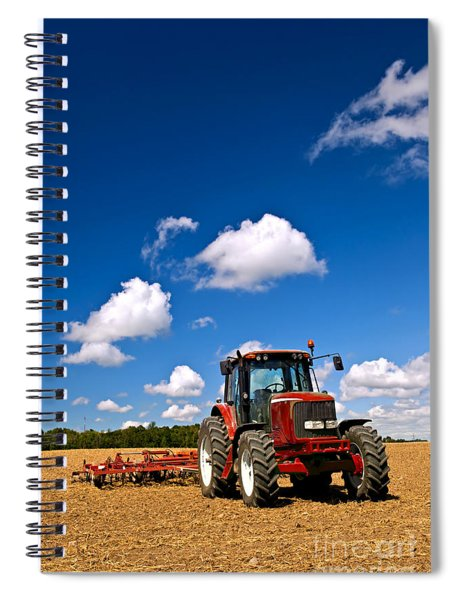 Tractor In Plowed Field Spiral Notebook
