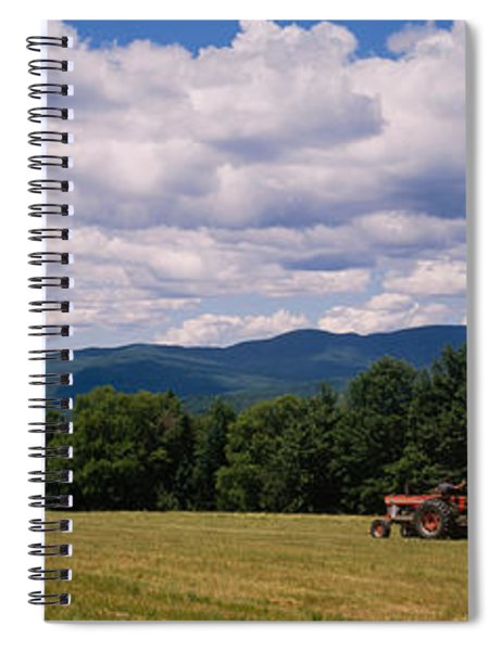 Tractor On A Field, Waterbury, Vermont Spiral Notebook
