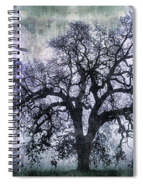 Tree Silhouette In Purple Spiral Notebook