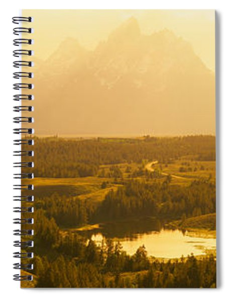 Trees On A Landscape With A Mountain Spiral Notebook