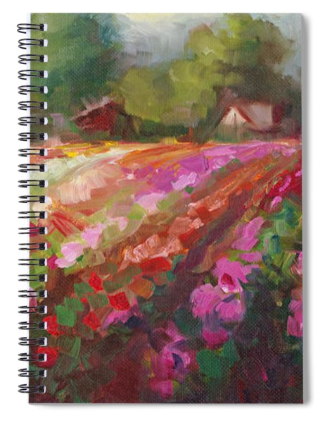 Trespassing Dahlia Field Landscape Spiral Notebook
