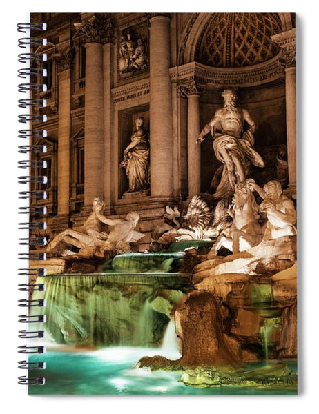 Trevi Fountain At Nighttime  Rome, Italy Spiral Notebook