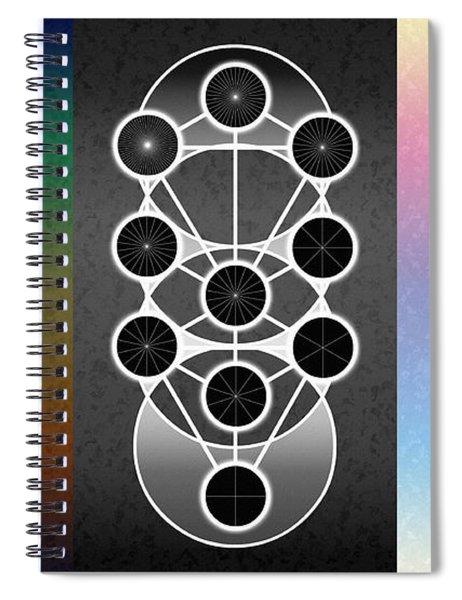 Spiral Notebook featuring the digital art Tri-kabalah Chart by Derek Gedney