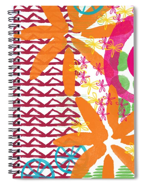 Triangles And Flowers- Colorful Painting Spiral Notebook