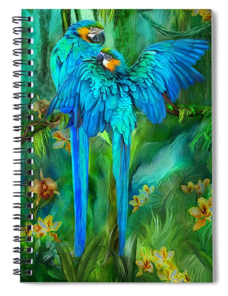 Tropic Spirits - Gold And Blue Macaws Spiral Notebook
