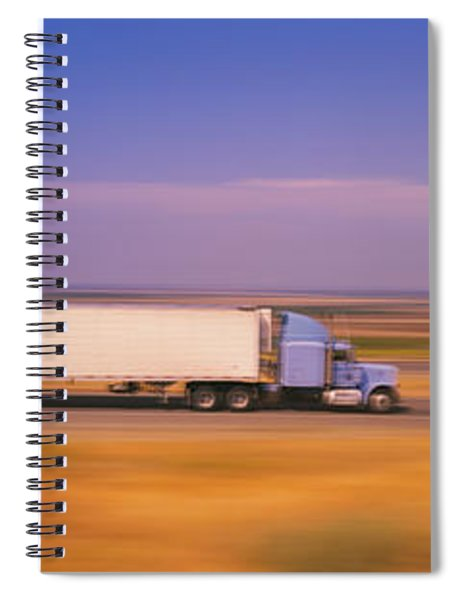 Truck And A Car Moving On A Highway Spiral Notebook