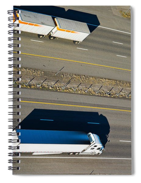 Trucks Moving On A Highway, Interstate Spiral Notebook