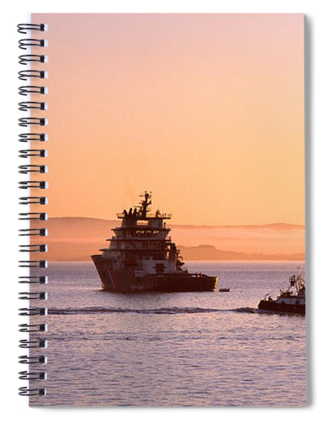 Tugboat With A Trawler And A Tall Ship Spiral Notebook