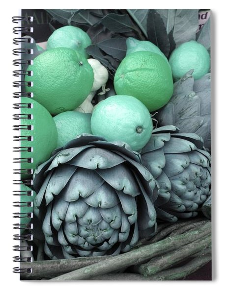 Turquoise Artichokes Lemons And Oranges Spiral Notebook
