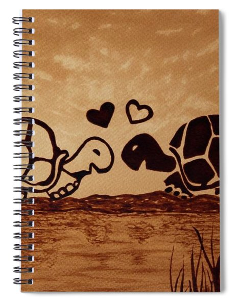 Turtles Love Coffee Painting Spiral Notebook