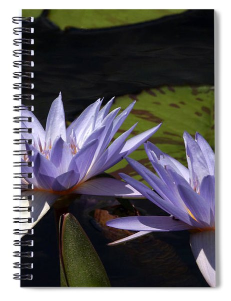 Twin Lavender Tropical Waterlilies Spiral Notebook