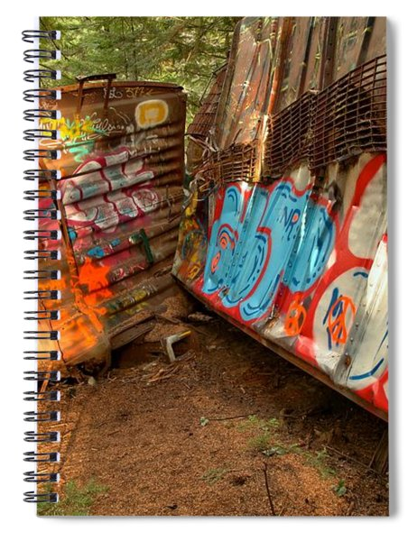 Twisted Wrecked Tain Cars Spiral Notebook