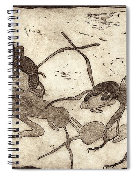 Two Ants In Communication - Etching Spiral Notebook
