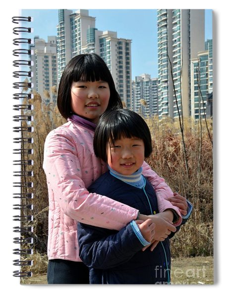 Two Chinese Teen Sisters Hug  And Embrace Shanghai China Spiral Notebook