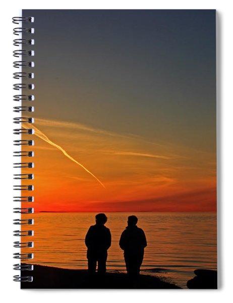 Two Friends Enjoying A Sunset Spiral Notebook